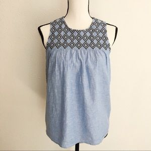 JCrew Factory light blue embroidered blouse